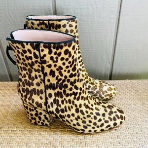 J Crew Sadie Ankle Boots Leopard Calf Hair K0043